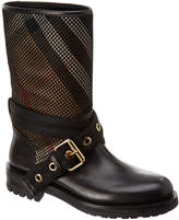 Burberry House Check & Leather Mesh Boot