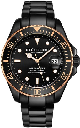 Stuhrling Original Men's Aquadiver Black and Gold-tone Alloy Dive Watch