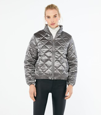 New Look Wednesday's Girl Metallic Quilted Puffer Jacket