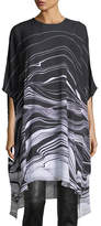 St. John Brush Stroke Print Satin Dress