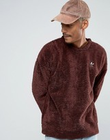 adidas Fallen Future Teddy Sweat In Burgundy BR1817