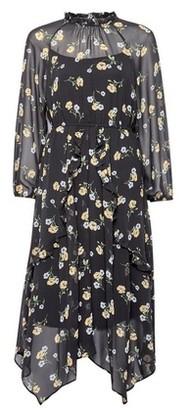 Dorothy Perkins Womens Dp Petite Black Floral Print Midi Dress, Black