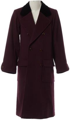 Saint Laurent Burgundy Wool Coat for Women Vintage