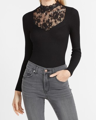 Express Lace Front Long Sleeve Sweater