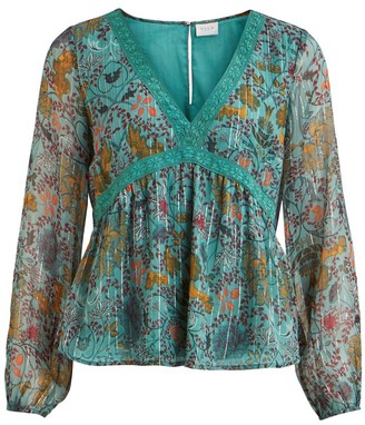 Vila V-Neck Dip-Hem Blouse in Metallic Floral Print