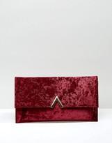 Asos Velvet Clutch Bag With Metal Bar