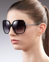 Diane von Furstenberg Alejandra Metal-Arm Sunglasses, Black