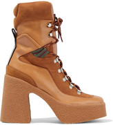 Thumbnail for your product : Stella McCartney Lace-up Faux Suede And Leather Platform Ankle Boots