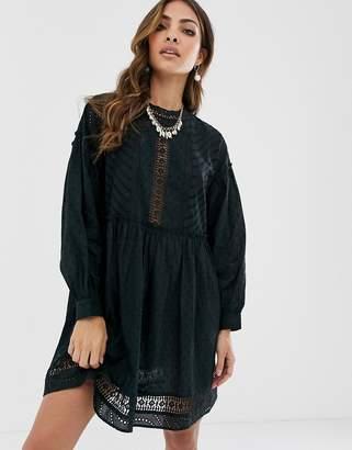 Asos Design DESIGN dobby high neck mini smock dress with lace trims-Black