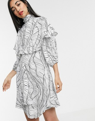 Asos linear print frill dress
