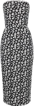 Brandon Maxwell Strapless Leopard-print Silk Midi Dress