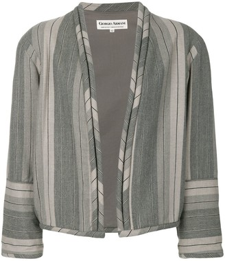 Giorgio Armani Pre-Owned Striped Collarless Jacket