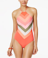 Vince Camuto High-Neck Colorblocked One-Piece Swimsuit