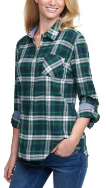 Tommy Hilfiger Plaid Cotton Roll-Tab-Sleeve Top