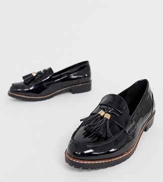 Raid Wide Fit RAID Wide Fit Maya black patent chunky flat loafers