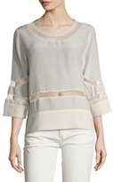 IRO Ambre Silk Lattice Inset Blouse