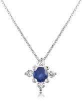 Tagliamonte Incanto Royale Diamond and Sapphire Flower 18K Gold Pendant Necklace