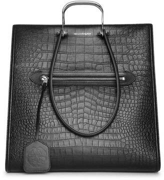 Alexander McQueen The Tall Story embossed leather tote bag