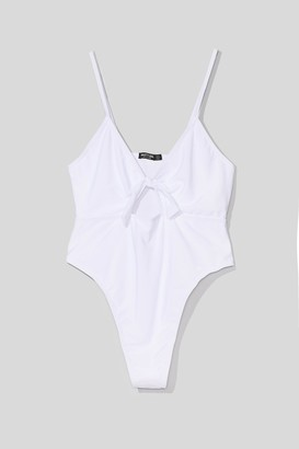 Nasty Gal Womens Daisy For You Plus Tie Swimsuit - White