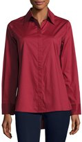 Neiman Marcus Swing-Back Button-Down Blouse, Burgundy