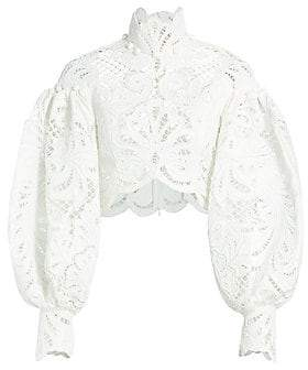 Zimmermann Women's Wavelength Embroidered Lace Top