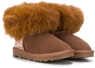 MonnaLisa Faux-Fur Trim Glitter-Panel Boots