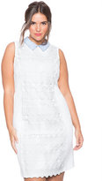 ELOQUII Plus Size Studio Collared Crochet Dress