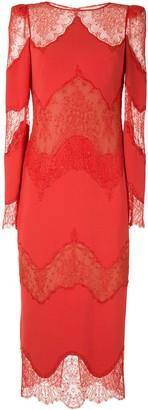 ZUHAIR MURAD Lace Inserts Midi Dress