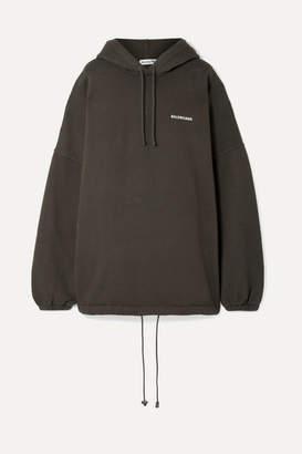 Balenciaga Oversized Embroidered Cotton-blend Fleece Hoodie - Charcoal