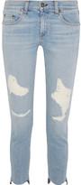 Rag & Bone Capri Distressed Low-rise Skinny Jeans - Light denim