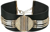 Steve Madden Black Leather with Silver/Gold Beaded Choker Necklace