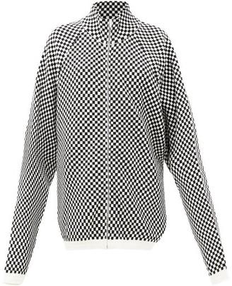 Raf Simons Ss00 Check Knitted Bomber Jacket - Black White