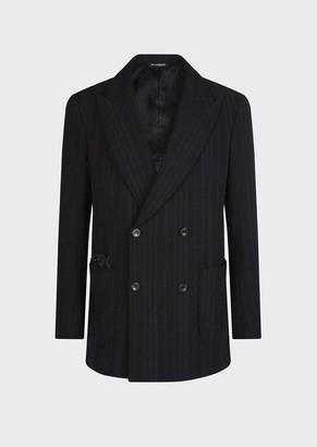 Emporio Armani Wrinkled-Look, Double-Breasted, Plaid Blazer