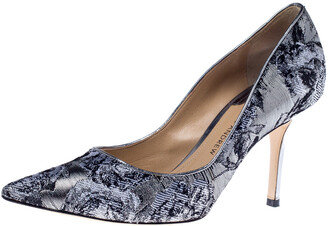 Paul Andrew Metallic Two Tone Brocade Fabric Pointed Toe Pumps Size 37