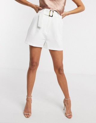 Asos DESIGN high waisted belted short in ivory