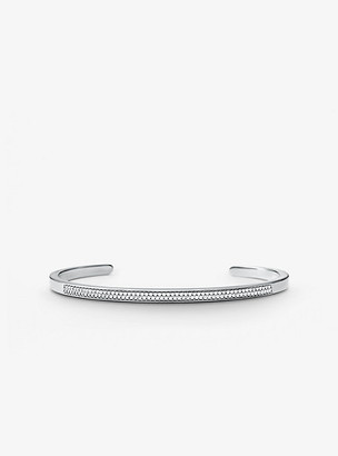 Michael Kors Precious Metal-Plated Sterling Silver Pave Nesting Cuff - Silver