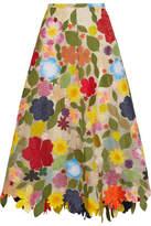 Rosie Assoulin Hodges Podges Floral-appliquéd Silk-organza Midi Skirt - Cream