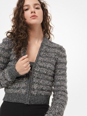 Michael Kors Collection Tinsel Cropped Bomber Jacket