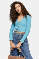 Topshop Womens Petite Bright Blue Ribbed Lace Cardigan - Bright Blue