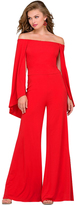 Jovani Off Shoulder Jersey Jumpsuit in Red 39598