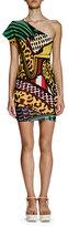 Stella McCartney One-Shoulder Printed Sheath Dress, Multi Colors