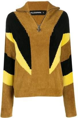 Filles a papa turtleneck rib-knit panel sweater