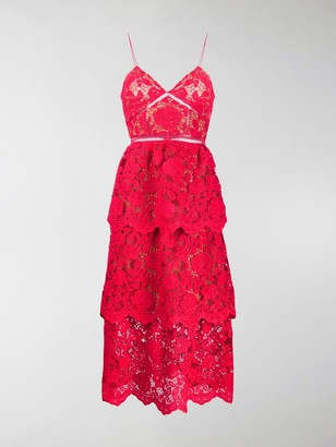 Self-Portrait floral-lace A-line dress