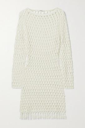 Marysia Swim Tasseled Crocheted Bamboo Mini Dress - Cream