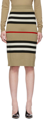 Burberry Beige Merino Kwando Icon Skirt