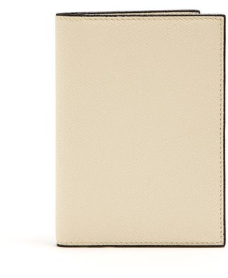 Valextra Grained-leather Passport Holder - Cream