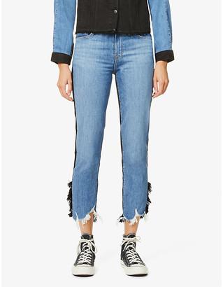 J Brand Ruby two-tone straight-leg high-rise stretch-denim jeans