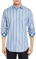 Thomas Dean Classic Fit Barcode Stripe Sport Shirt
