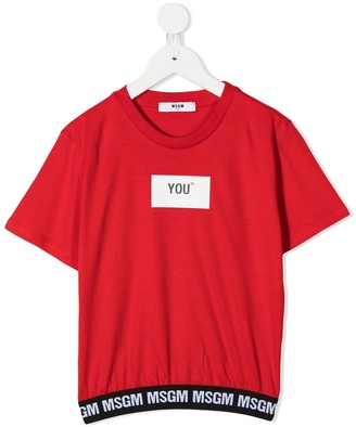 Msgm Kids graphic-print crew neck T-Shirt