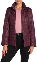 Kate Spade water-resistant hooded zip quilted moto jacket